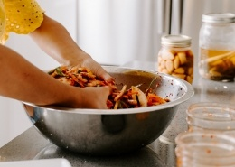girl making kimchi
