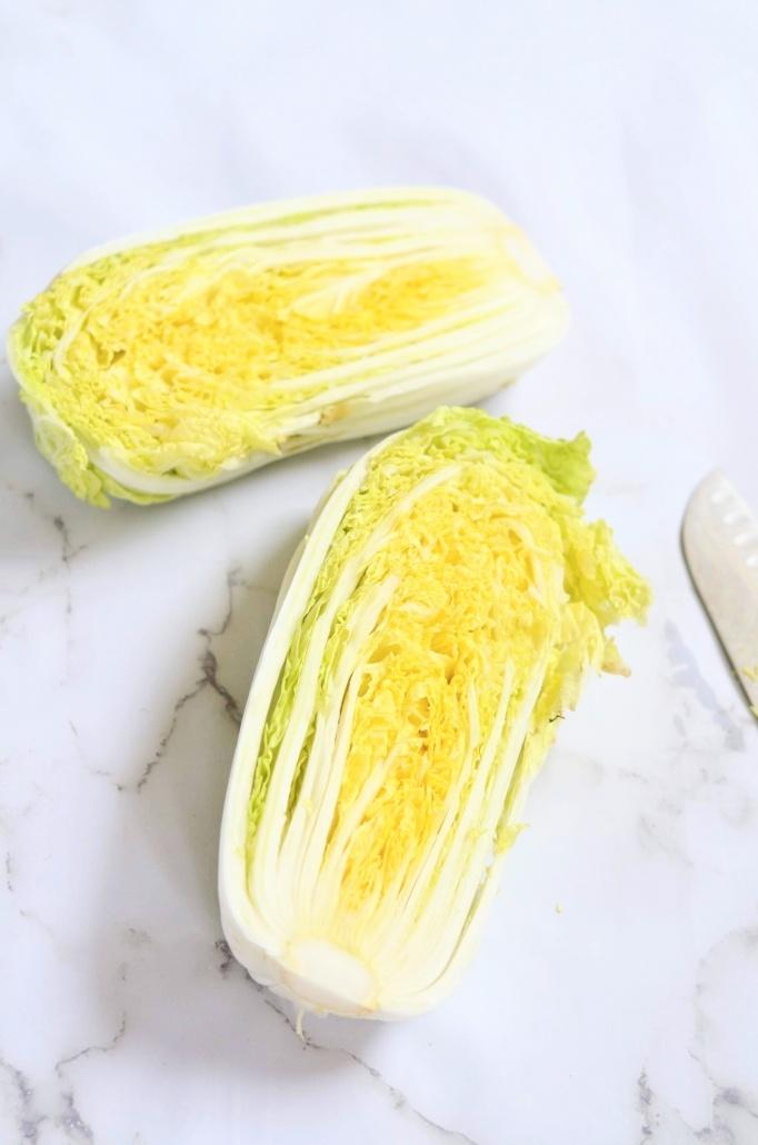napa cabbage cut in half